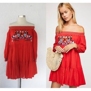 NWT Free People Sunbeams Embroidered Mini Dress XS
